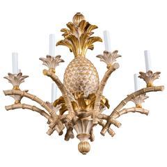 Italian Carved Wood Pineapple Chandelier
