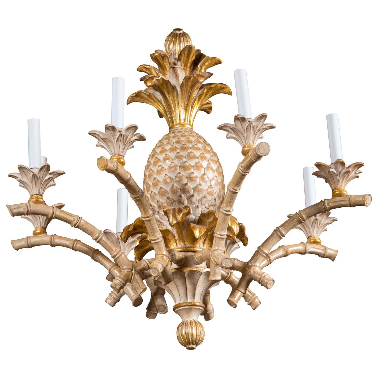 Italian Carved Wood Pineapple Chandelier For Sale at 1stdibs