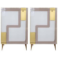 Pair of Vintage Italian Mirror Cabinets