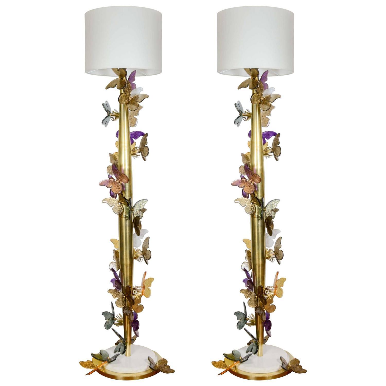 Pair of brass floor lamps at 1stdibs for Hyatt 6 light floor lamp brass
