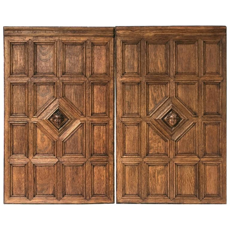 French Wall Covering : French wall panels of oak with bust bacchus four