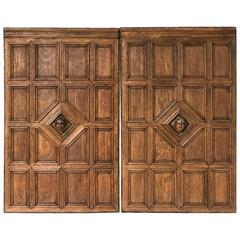 French Wall Panels of Oak with Bust of Bacchus (Three Available)