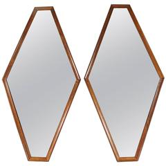 Pair of Diamond Shaped Mirrors with Wood Surround
