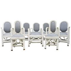 Six-Piece Set of White Wicker Furniture