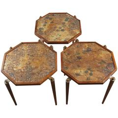 Set of Octagonal Nesting Tables with Mica Paper Inserts
