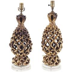 Pair of Italian Ceramic Lattice Woven Lamps