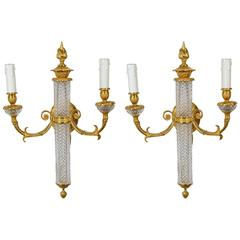 Pair of Baccarat Crystal Sconces
