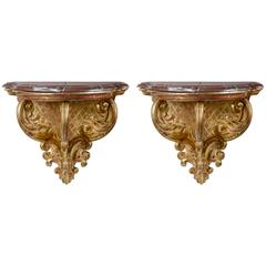 Pair of Gilded Wood Italian Wall Consoles