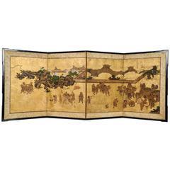 18th Century Japanese Screen Children Games and Shishimai