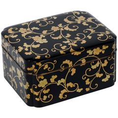 19th Century Meiji Japanese Black and Gold Lacquer Kobako (Lacquer Box)