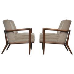 T.H. Robsjohn-Gibbings Pair of Lounge Chairs in Wool