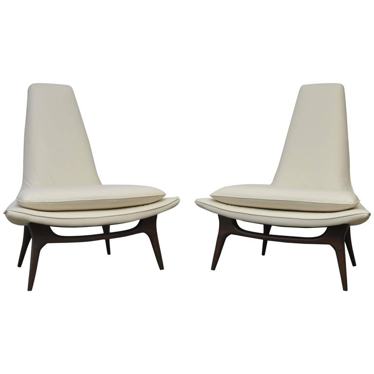 Karpen High Back Lounge Chairs At 1stdibs