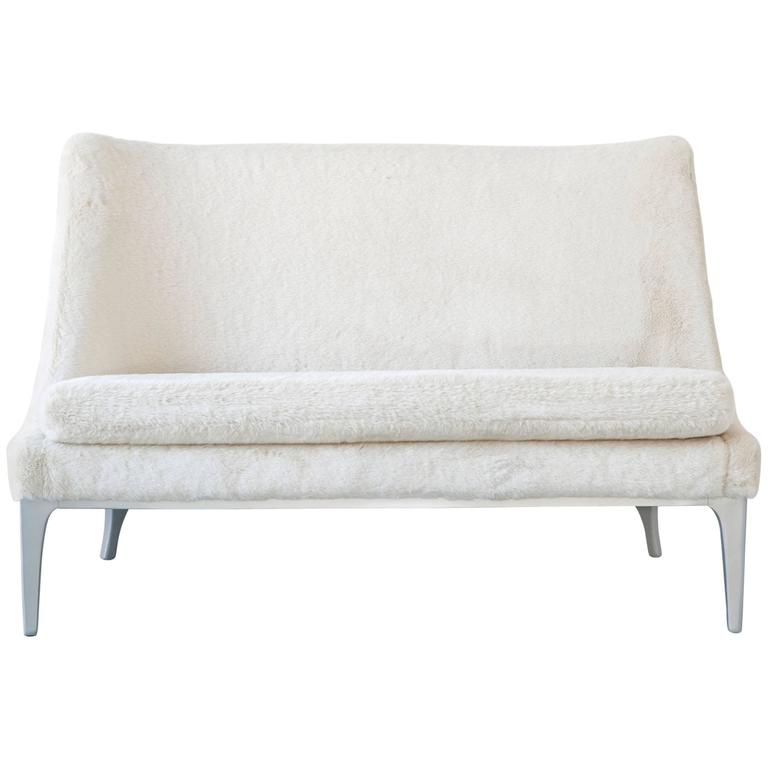 Lawrence Peabody Settee Reupholstered in Faux Fur