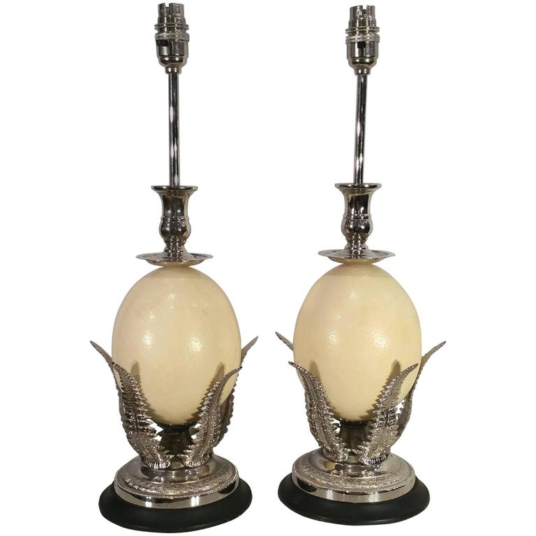 Pair of Silver Plated Ostrich Egg Table Lamps