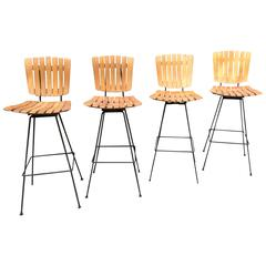 Arthur Umanoff Iron and Birch Swivel Stools for Raymor