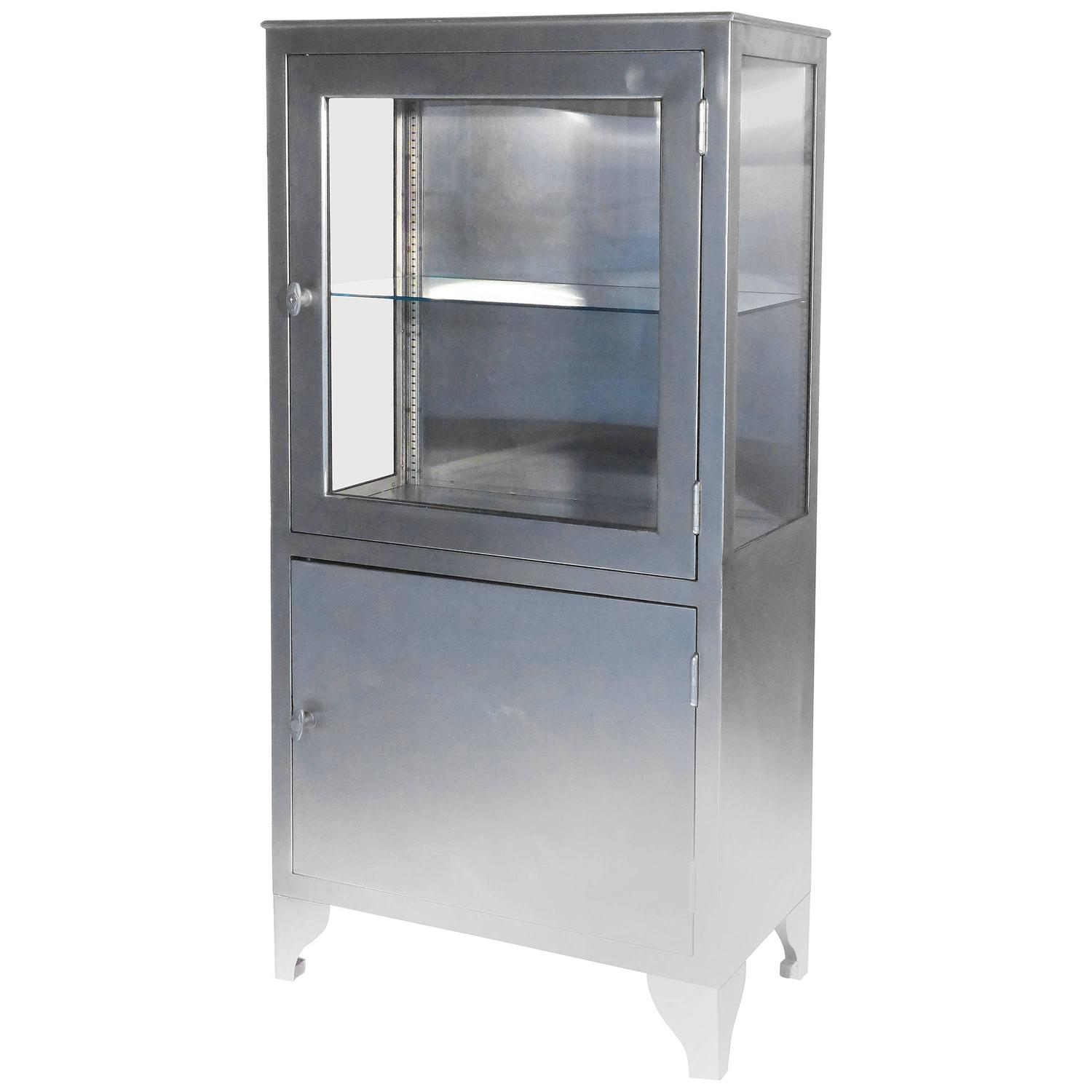 Us Army Stainless Steel Or Medical Display Cabinet By