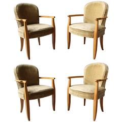 Set of 4 Fine French Art Deco Bridge Armchairs