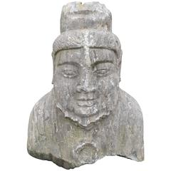 China Authentic 700 Year Old Stone Official Sculpture- Joyful Expression