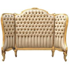 Louis XV Style Tufted Gilt Headboard