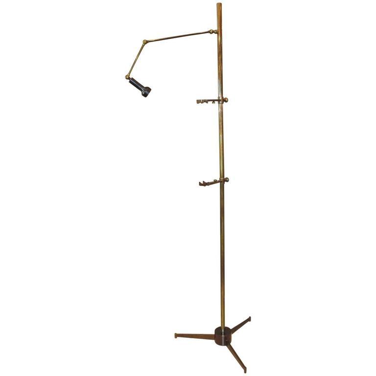 Brass Easel Floor Lamp by Angelo Lelli for Arredoluce