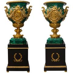 Exceptional Pair of Louis XVI Style Vases Mount Gilded Bronze and Malachite