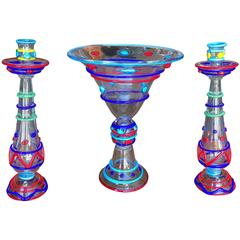 Murano Antique Handblown Brilliant Colors Trio Candlesticks Bowl Signed Master