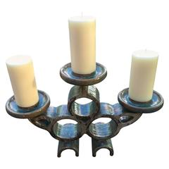 Mid-Century Modern Craftsmen Hand Glazed Blue Candle Holder and Serving Vessel