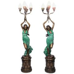 Stunning Pair of Bronze Lady 'Torchere' Lamps