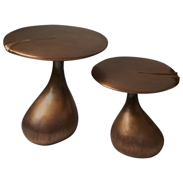 Pair of Bronze Gueridons / Side Tables by Hoon Moreau For Sale
