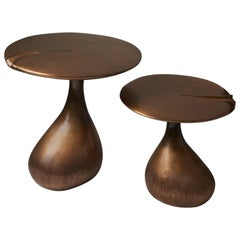 Pair of Bronze Gueridons / Side Tables by designer Hoon Moreau