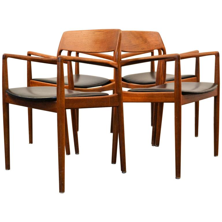 Midcentury danish design teak armrest chairs set of four at 1stdibs - Scandinavian teak dining room furniture design ...