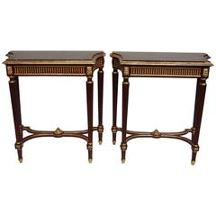 Pair of Small Louis XVI Style Consoles with Red Griotte Marble Top, 1900 Period