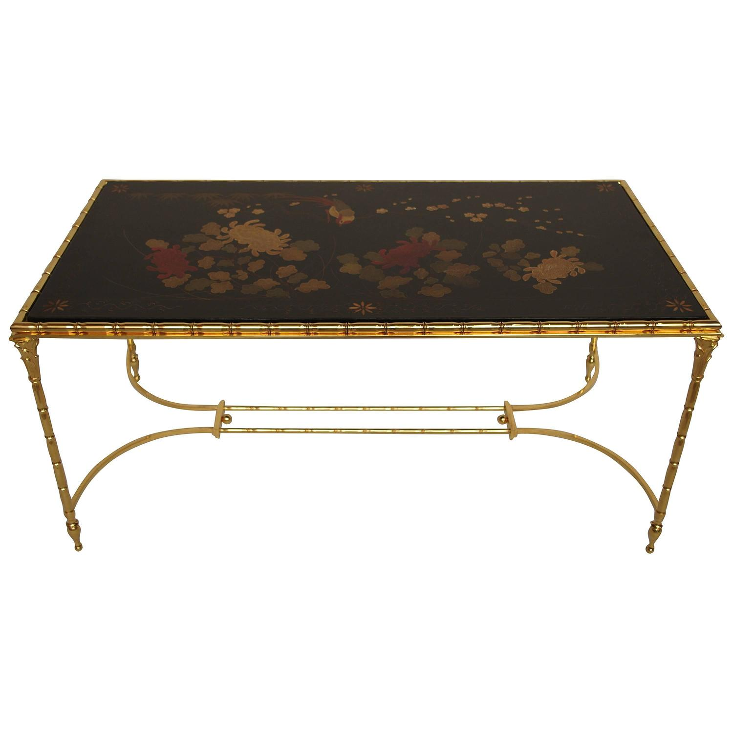 Bamboo Style Black Lacquer Top Chinese Style Coffee Table For Sale At 1stdibs