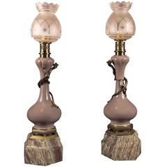 Pair of Oil Lamps in the Oriental Taste with Original Glass Light Shades, France
