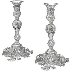 Pair of George II Antique English Silver Candlesticks from the Leinster Service