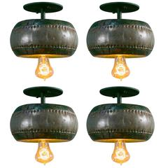 One-of-a-Kind Antique Painted Wood and Metal Ceiling Mount Lights