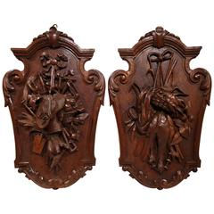 Pair of 19th Century French Carved Walnut Black Forest Trophies