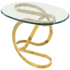 Milo Baughman Glass and Brass Side Table for Dia