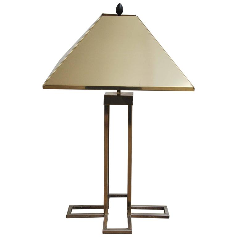 "Rare C. Jere Signed Geometric ""x"" Brass Lamp with Brass Shade"