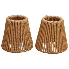 Pair of Audoux Minet Rope Sconce or Lampshades