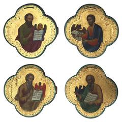 Set of Four Russian Raised Gilt Evangelist Icons, 18th-19th Century