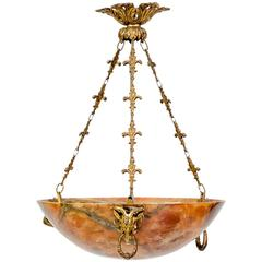Amber Alabaster Light Fixture, 20th Century