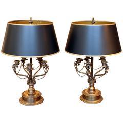Pair of Cast Brass Bouillotte Lamps