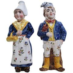Pair of 19th Century French Hand-Painted Faience Figurines Marked QR