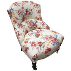 19th Century French Chair, Rebuilt, Reupholstered in Tissus Tartares Fabric