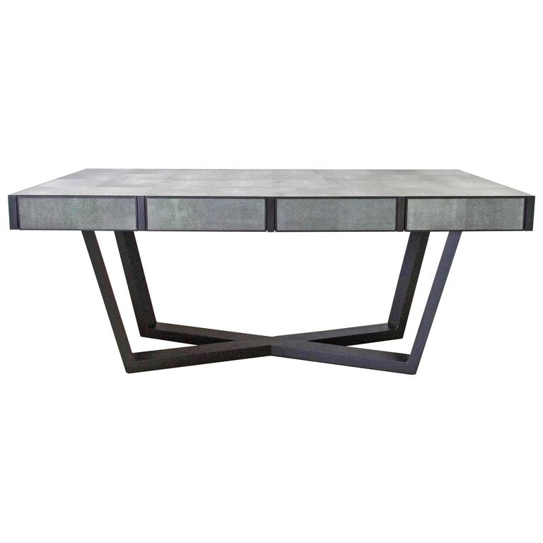 Faux Shagreen Leather and Wood Dining Table