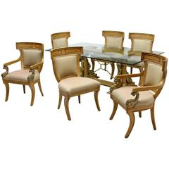 Seven-Piece Italian Carved Fruitwood Dining Set with Dolphins