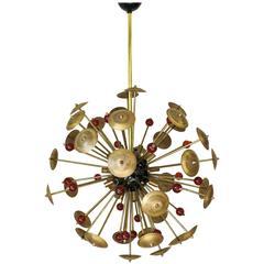 Italian Antique Brass and Amber Murano Glass Sputnik by Fabio Bergomi