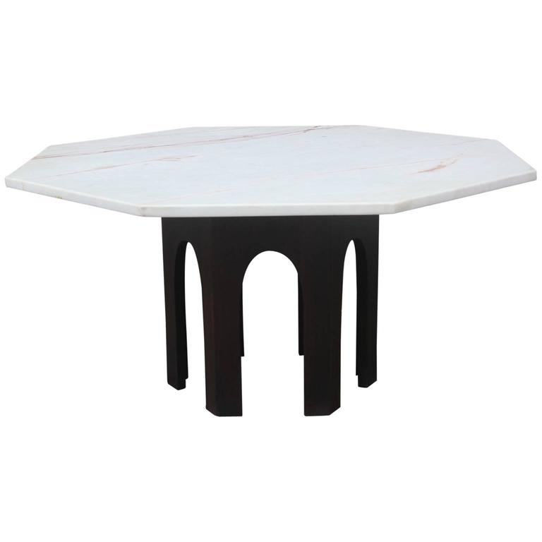 Harvey Probber Marble Topped Octagon Modern Coffee Table With Walnut Base For Sale At 1stdibs