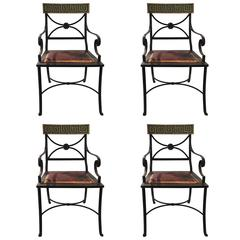 Set of Four Chairs, Iron, Wood and Seat Original Leather, circa 1970, France